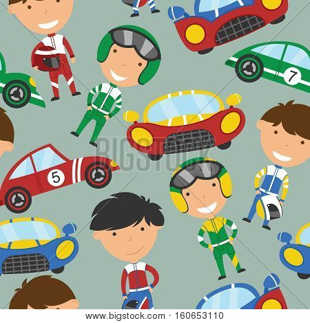 Vector seamless pattern with cute racing drivers and sport cars. Vintage automobiles with drivers background.