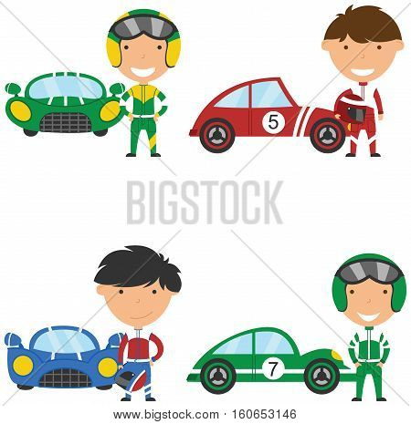 Cute and bright racing drivers and sport cars. Vintage cars and boys isolated on white bacground.