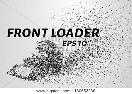 Front Loader From The Particles. Front Loader Consists Of Circles And Points. Vector Illustration