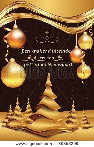 Dutch greeting card with wishes for the end of the year (Wishing a pleasant end of the year and a fantastic New Year! - Een knallend uiteinde en een spetterend Nieuwjaar!). Print colors used