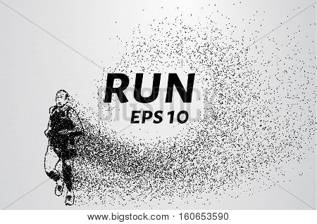 Runner Of The Particles. Runner Breaks Down Into Small Molecules. Runner Consists Of Small Circles A