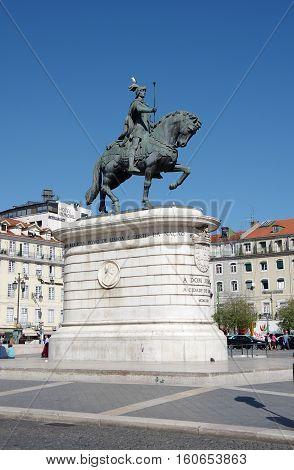 LISBON PORTUGAL - OCTOBER 14 2015: The Praca da Figueira (English: Square of the Fig Tree) is a large square in the centre of Lisbon in Portugal