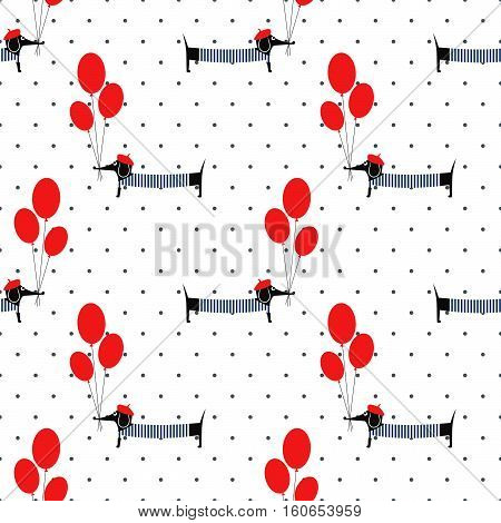 Cute dog holding balloons seamless pattern on polka dots background. Cartoon dachshund vector illustration. French style dressed dog with beret and frock. Fashion design for textile, fabric, decor