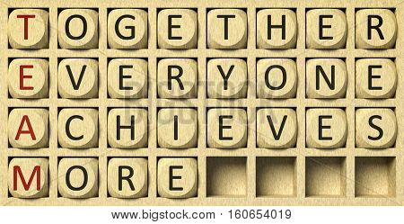 3d rendering of a wooden grid with cubes and the message together everyone achieves more