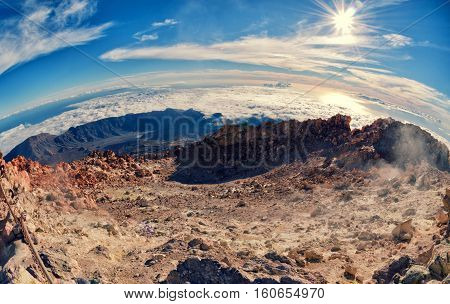 Fisheye Lens Aerial View. Of Volcano Caldera From Summit Pico Del Teide Mountain.