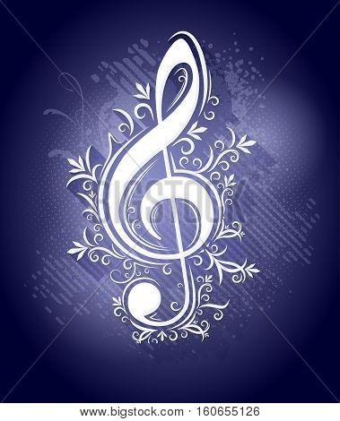 Abstract dark blue background in grunge style with lights drops shadows. Treble clef g clef for music design