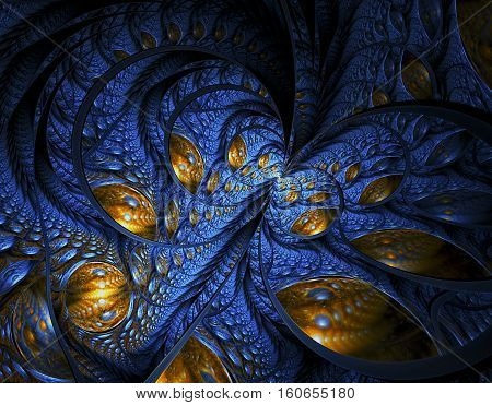 Abstract fractal image ornament on the dark background