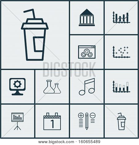 Set Of 12 Universal Editable Icons. Can Be Used For Web, Mobile And App Design. Includes Icons Such As Education Center, Crotchets, Website Performance And More.