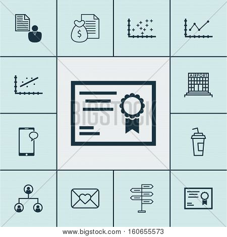 Set Of 12 Universal Editable Icons. Can Be Used For Web, Mobile And App Design. Includes Icons Such As Airport Construction, Changes Graph, Report And More.