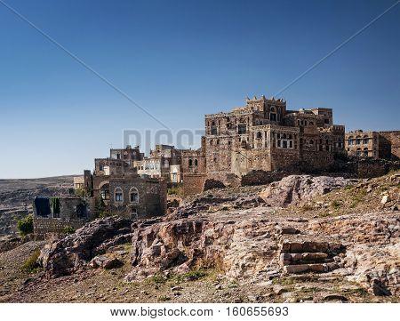 thila old arabian village landscape view in rural yemen near sanaa