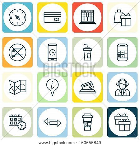 Set Of Travel Icons On Plastic Card, Credit Card And Appointment Topics. Editable Vector Illustration. Includes Gift, Coffee, Credit And More Vector Icons.