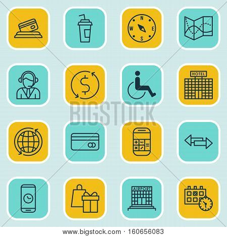 Set Of Transportation Icons On Plastic Card, Accessibility And Drink Cup Topics. Editable Vector Illustration. Includes Date, Calendar, Dollar And More Vector Icons.