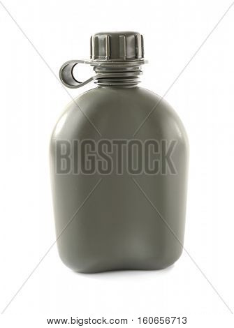 Military canteen on white background