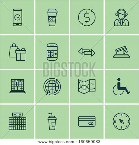 Set Of Travel Icons On Calculation, Accessibility And Operator Topics. Editable Vector Illustration. Includes Math, Operator, Time And More Vector Icons.