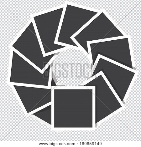 Collection of vector blank photo frames rotate counter-clockwise with transparent shadow effects.