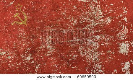 Old Grunge Vintage Faded Ussr Soviet Union Flag