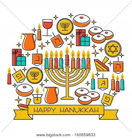 Hanukkah holiday background. Design elements set. Holiday symbols: menorah candlestick , candles, donuts, gifts, dreidel. Greeting card template design. Happy Hanukkah. Vector illustration