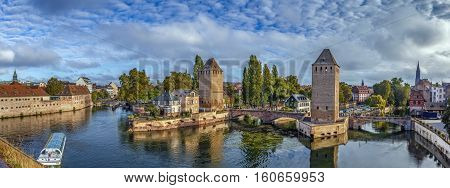 Panorama of medieval bridge Ponts Couverts from the Barrage Vauban in Strasbourg France