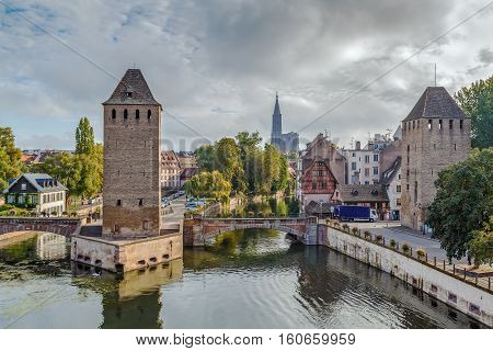 View of medieval bridge Ponts Couverts from the Barrage Vauban in Strasbourg France