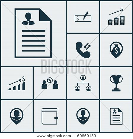 Set Of Management Icons On Wallet, Tree Structure And Pin Employee Topics. Editable Vector Illustration. Includes Resume, Phone, Check And More Vector Icons.