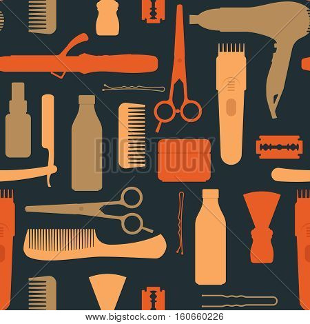 Hairdressing salon vintage seamless pattern with scissors hair dryer comb clipper blade on black background vector illustration