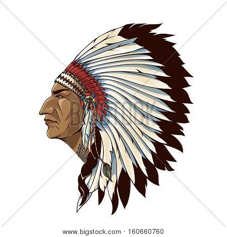 Single american indian in profile with tribal headdress of feathers on white background isolated vector illustration