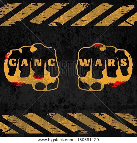 Street gang wars poster with fists in center crosswalks top and down on black background vector illustration