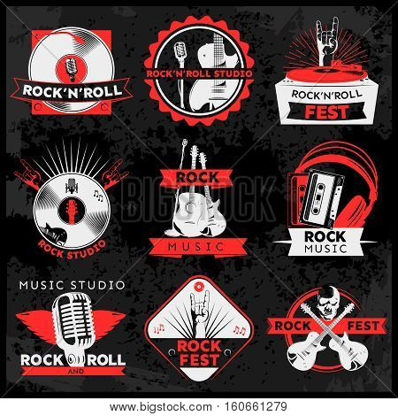 Dark music label set with descriptions of rock n roll studio fest music and rock studio vector illustration