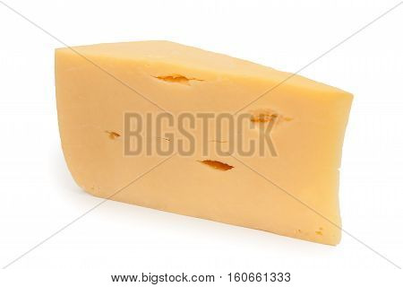 Piece Of Cheese Isolated On A White Background. Horizontal Picture, Close Up.
