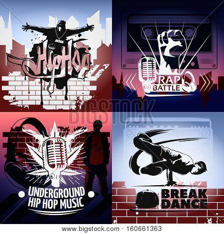 Four hip hop icon set with descriptions of rap battle underground hip hop music and break dance vector illustration