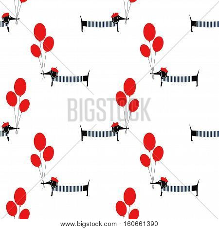 Cute dog holding balloons seamless pattern on white background. Cartoon parisian dachshund vector illustration. French style dressed dog with beret and frock. Fashion design for textile, fabric, decor
