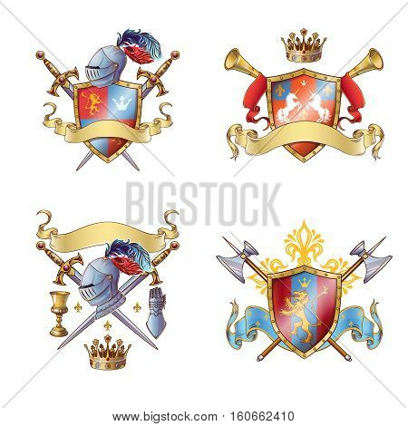 Knight colorful emblems with shields ribbons cross edged weapon armour flower crown animals isolated vector illustration