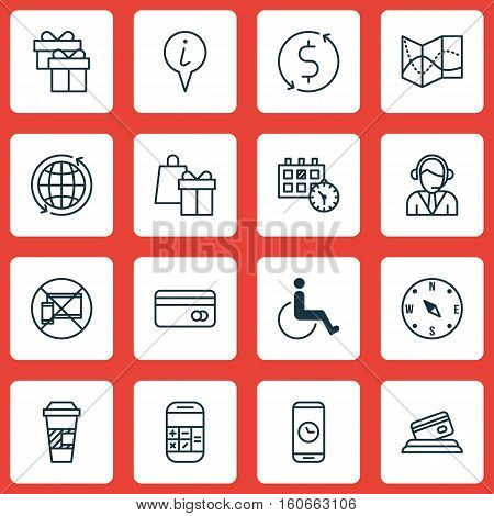 Set Of Travel Icons On Road Map, Calculation And Plastic Card Topics. Editable Vector Illustration. Includes Date, Calculation, Math And More Vector Icons.