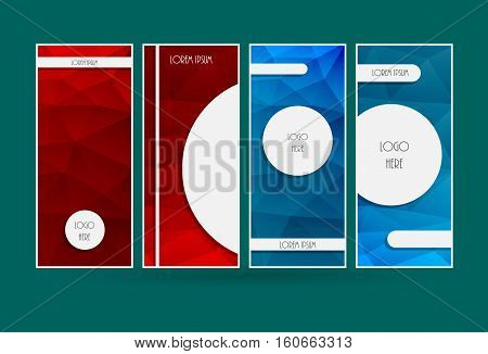 Cover template. Vertical low polygonal vector design. Brochure page background. Abstract blue and red color booklet layout.