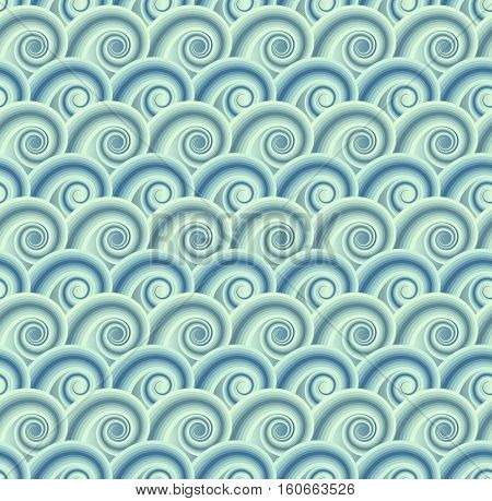 wavy background with seamless pattern - vector illustration