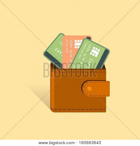 Money Cards in wallet financial vector illustration. Business and finance concept. Shopping, payment, money spending symbols.