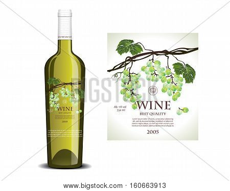 Conceptual transparent label on the bottle for white wine