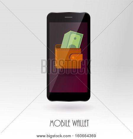 Money wallet with cash symbols on mobile gadget screen as online payment concept. Modern financial banking safe money transfer technology. Digital buying, saving, payment, shopping, e-commerce vector illustration.