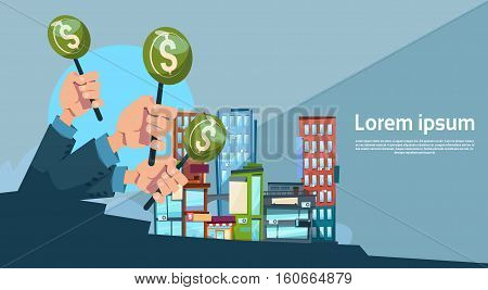 Hand Group Hold Green Money Business Funding Modern City Office Center Flat Vector Illustration