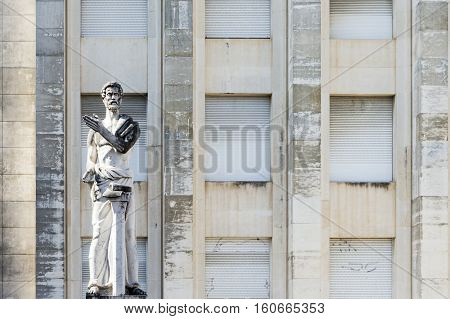 Demosthenes statue in front Facultade de Letras in Coimbra University Portugal