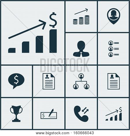 Set Of Human Resources Icons On Manager, Coins Growth And Cellular Data Topics. Editable Vector Illustration. Includes Call, Dollar, Female And More Vector Icons.