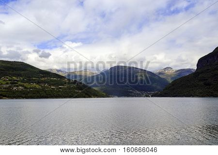 This is view of the coast of Nordfjord near town Olden Norway