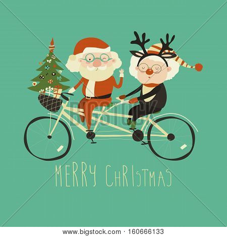 Cool grandma with grandpa as santa claus and reindeer riding a bicycle tandem. Merry Christmas card.