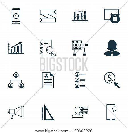 Set Of 16 Universal Editable Icons. Can Be Used For Web, Mobile And App Design. Includes Icons Such As Security, Schedule, Tree Structure And More.