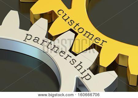Customer Partnership concept on the gearwheels 3D rendering