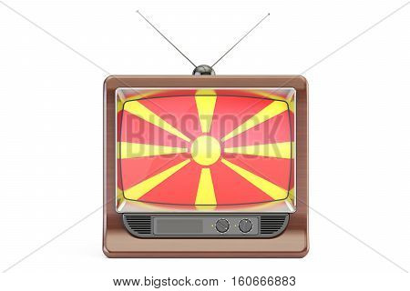 old tv with flag of Macedonia. Macedonian Television concept 3D rendering