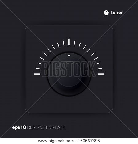Single gray tuner. Vector design template. UI element