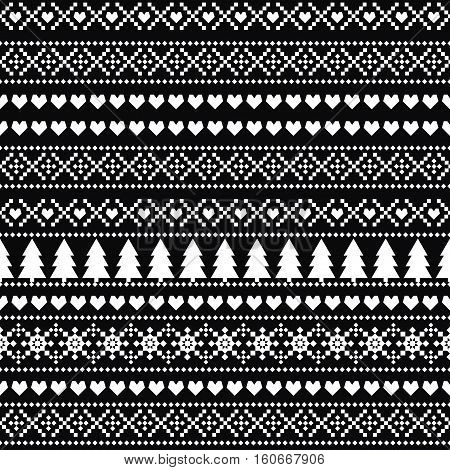 Black and white seamless Christmas pattern, card - Scandinavian sweater style. Simple Christmas background - Xmas trees, hearts and snowflakes. Cute vector design for winter holidays.