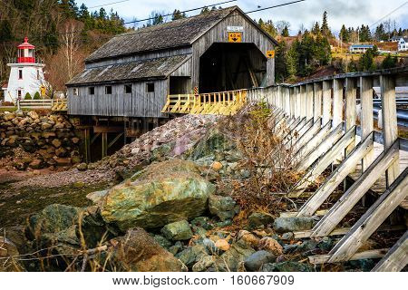 Irish river covered bridge in Saint Martin New Brunswick Canada