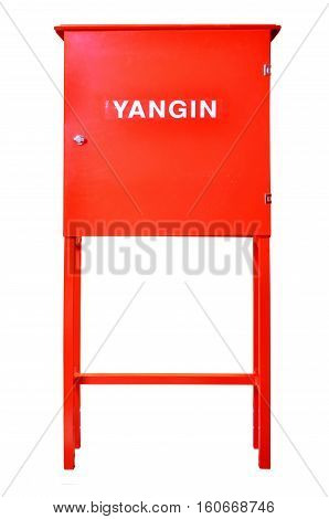 Red fire cabinet yangin bolabi isolated on white background